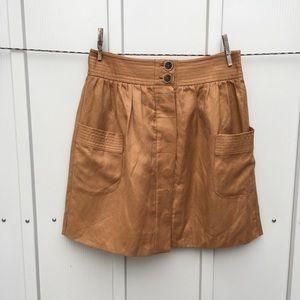 J.Crew brown linen full skirt with huge pockets